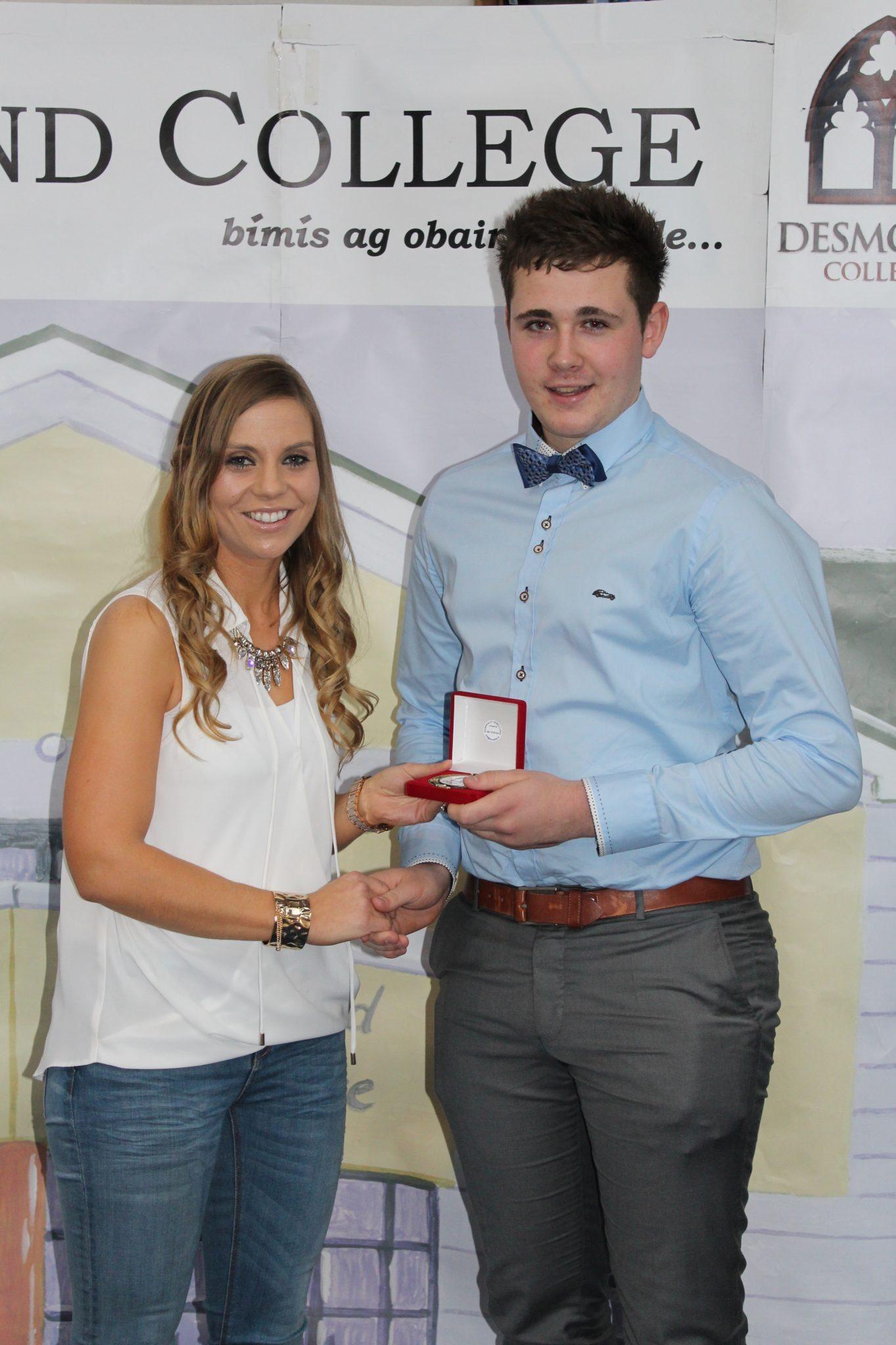 Desmond College Leaving Certificate Graduation 2015 : Sports Awards : Reus Lambadarios with Ms Corkery