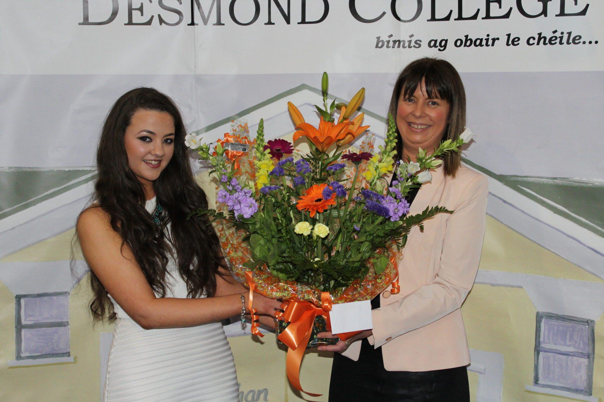 Desmond College Leaving Certificate Graduation 2015: Presentation to the Deputy Principal: Claragh Breen with Ms Cregan