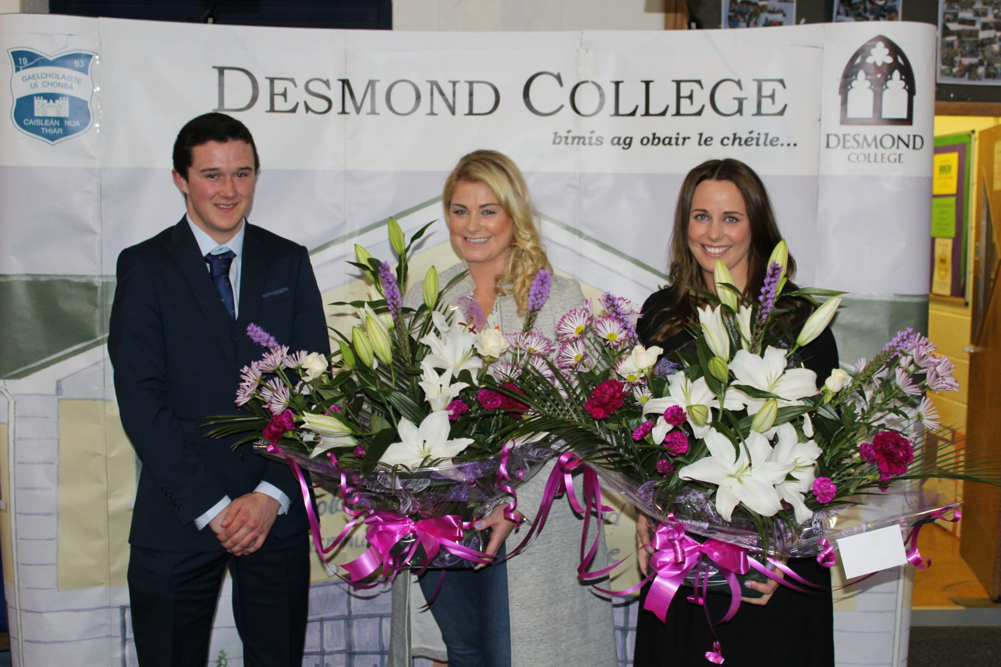 Desmond College Leaving Certificate Graduation 2015: Presentation to the Organisers of the Graduation : Eamonn Cooper with Ms Ryan and Ms White
