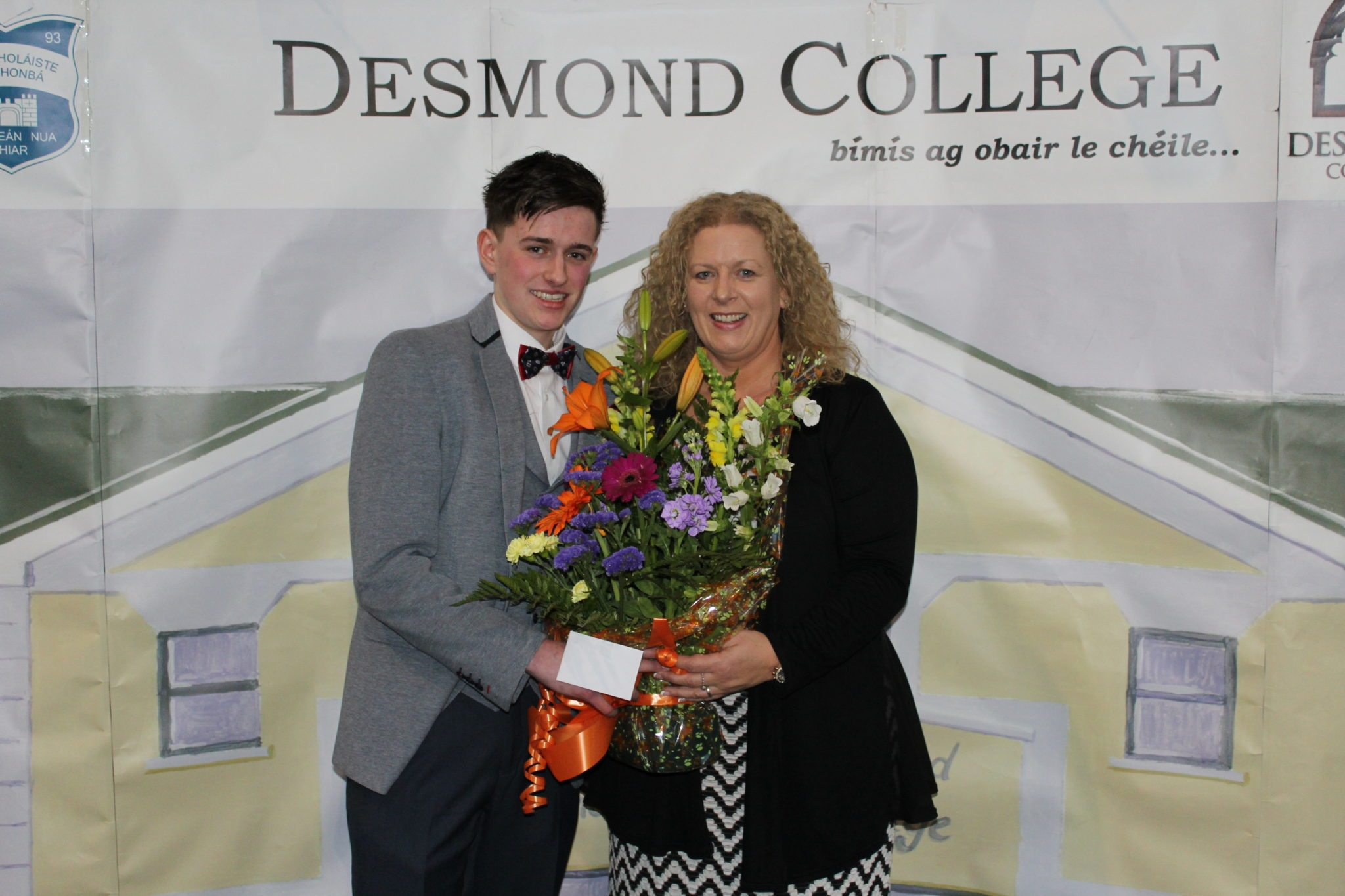 Desmond College Leaving Certificate Graduation 2015: Presentation to the Principal: Tom Flavin with Ms Vourneen Gavin Barry