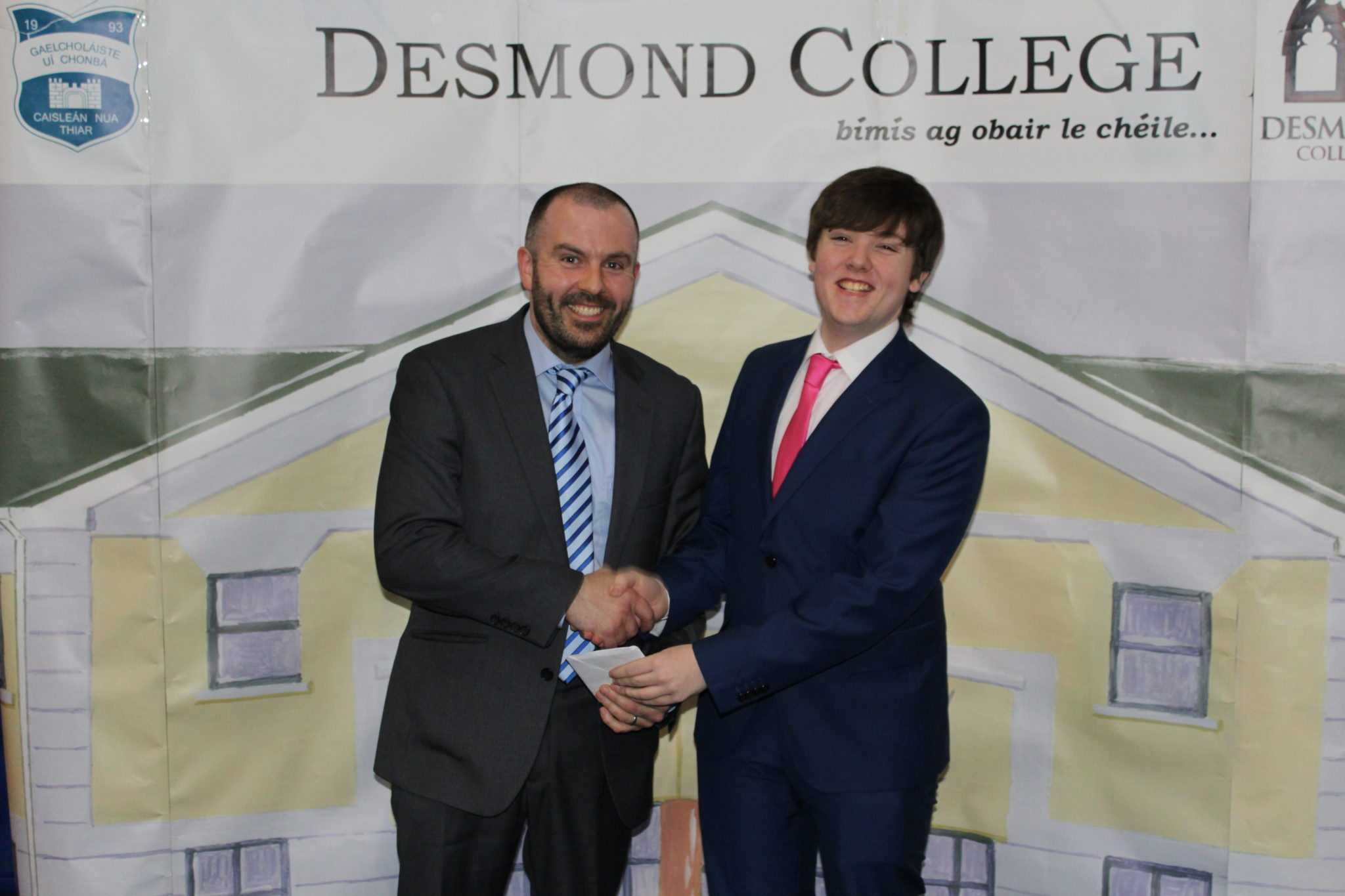 Desmond College Leaving Certificate Graduation 2015: Presentation to the Year Head: Shane Walsh with Mr Culhane
