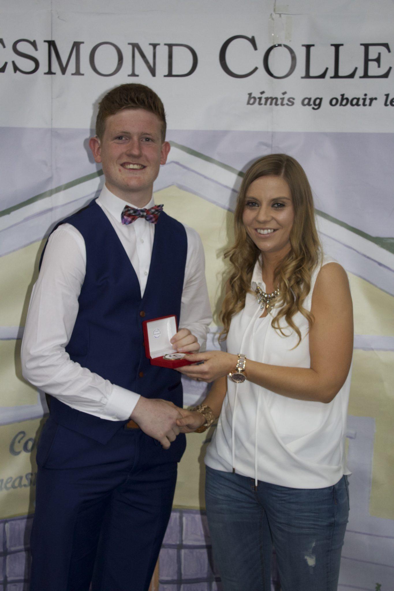Desmond College Leaving Certificate Graduation 2015 : Sports Awards: Evan Larkin with Ms Corkery
