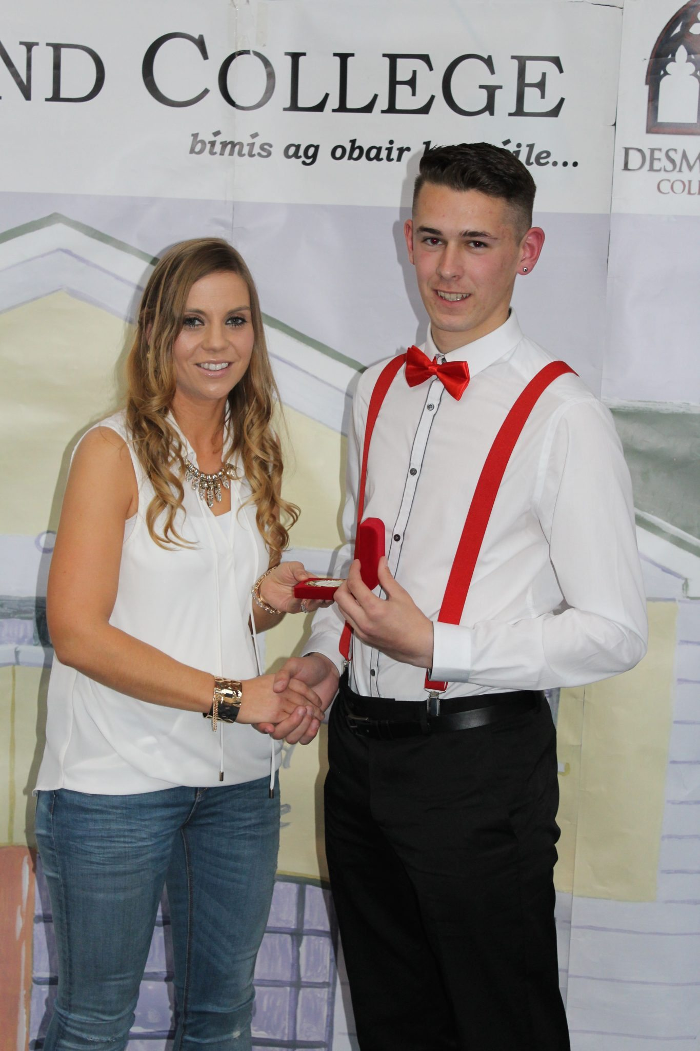 Desmond College Leaving Certificate Graduation 2015 : Sports Awards : Jamie Whelan with Ms Corkery