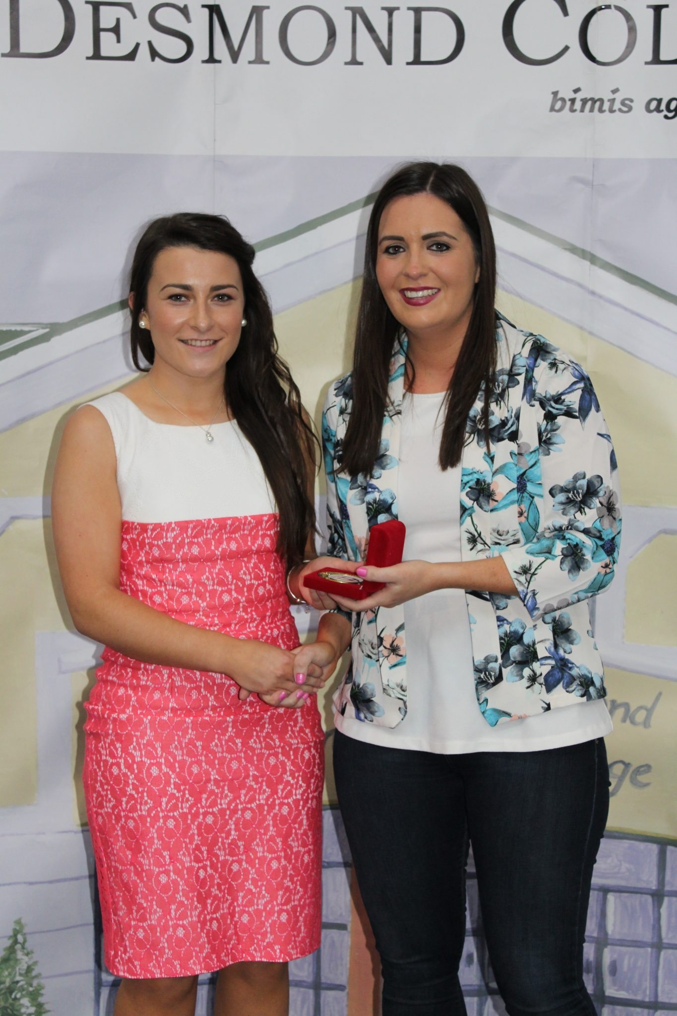 Desmond College Leaving Certificate Graduation 2015: sports awards: Leanne Browne with Ms Culhane