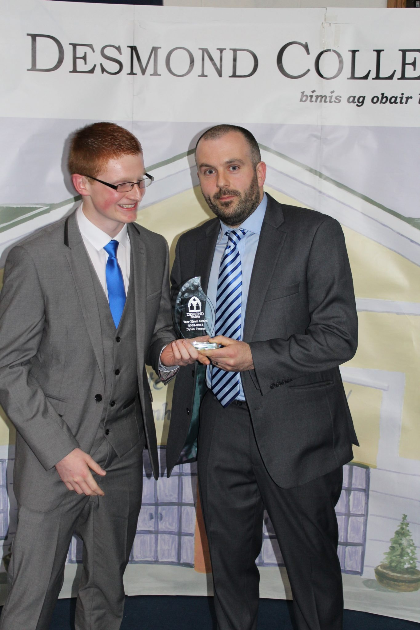 Desmond College Leaving Certificate Graduation 2015: Year Head Award: Dylan Teacy with Mr Culhane