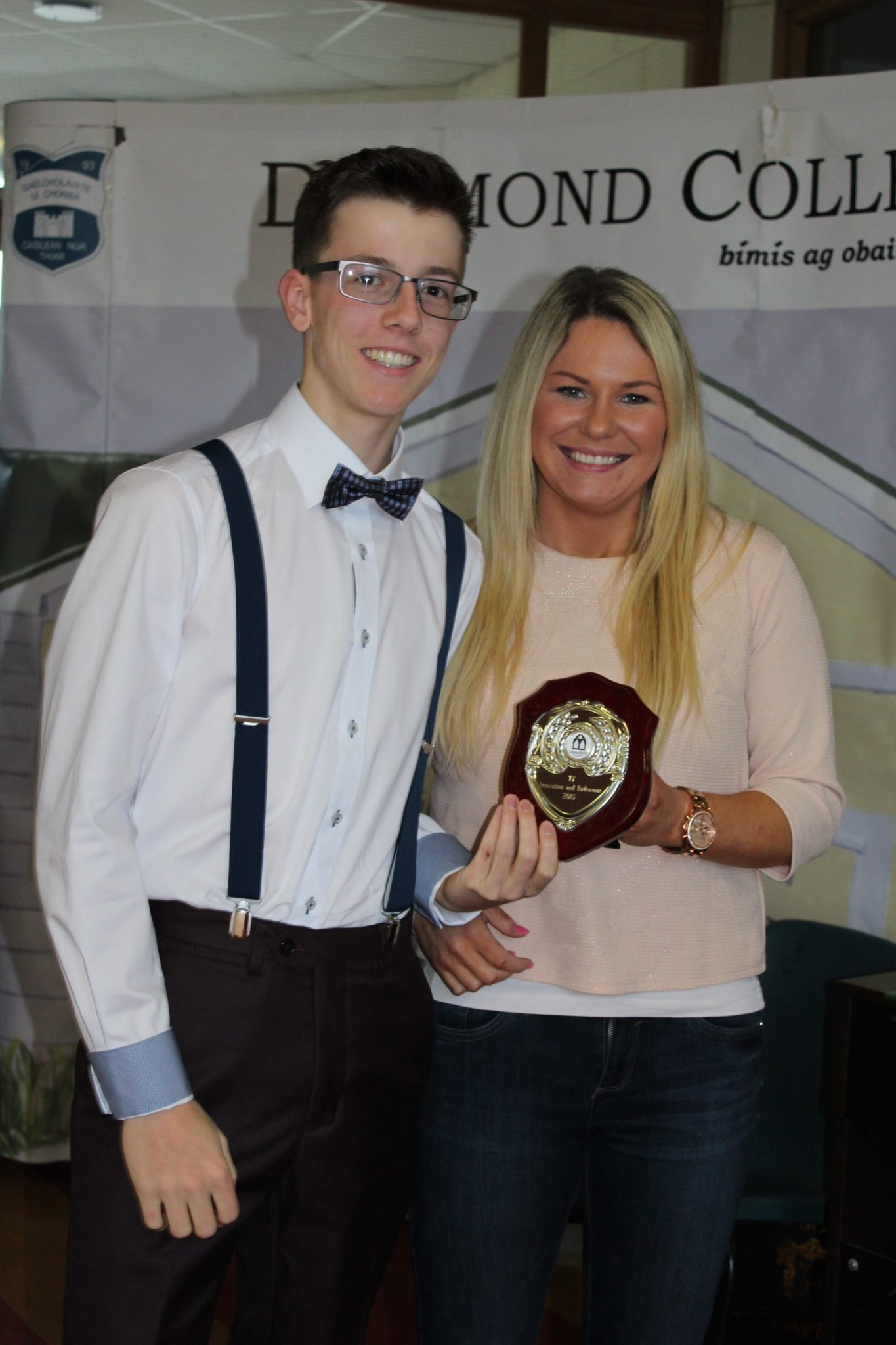 Desmond College TY Graduation 2015: Innovation and Endeavours Awards: Eamonn Browne with Ms Broderick