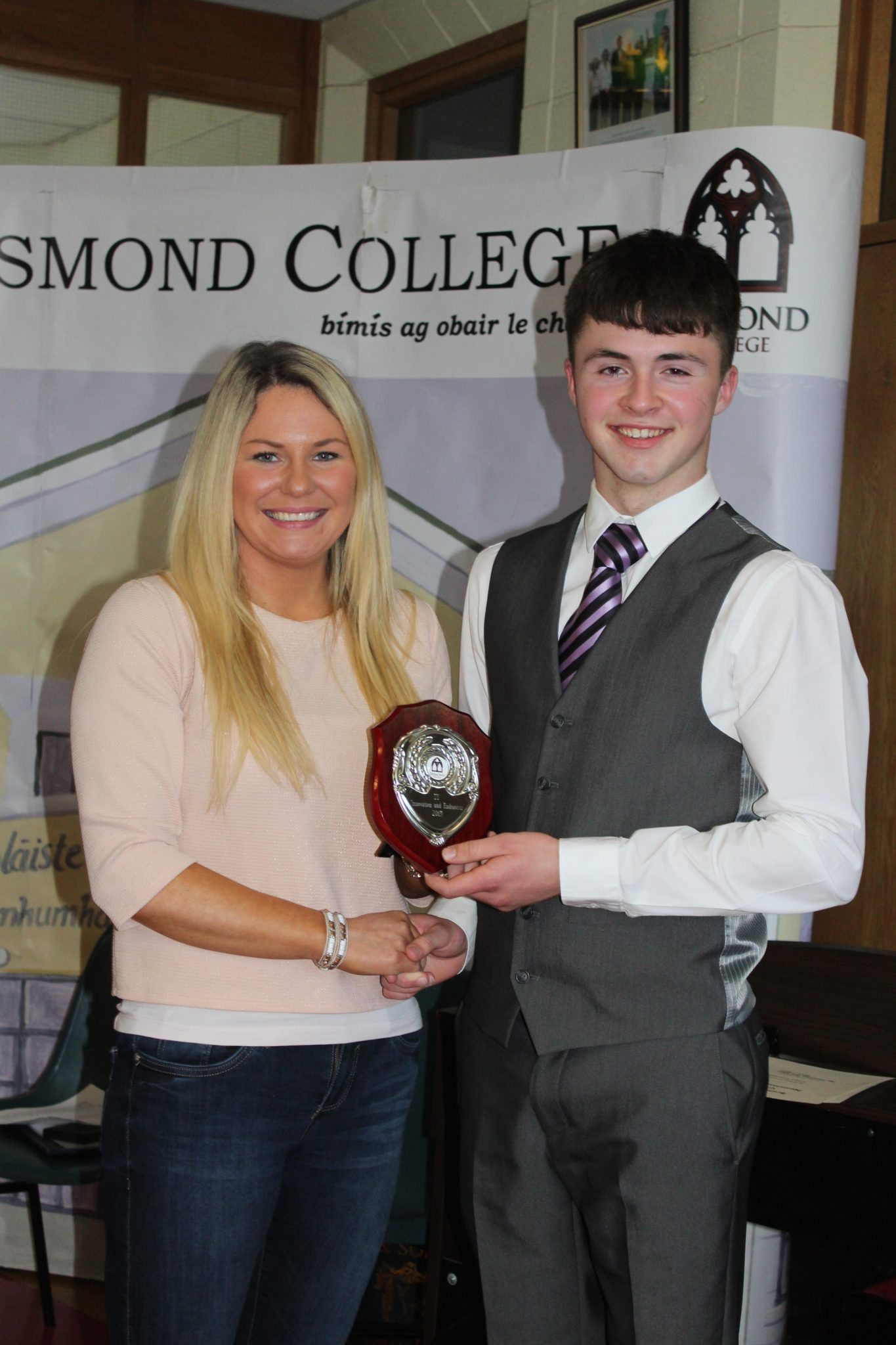 Desmond College TY Graduation 2015: Innovation and Endeavours Awards: Eoin Considine with Ms Broderick