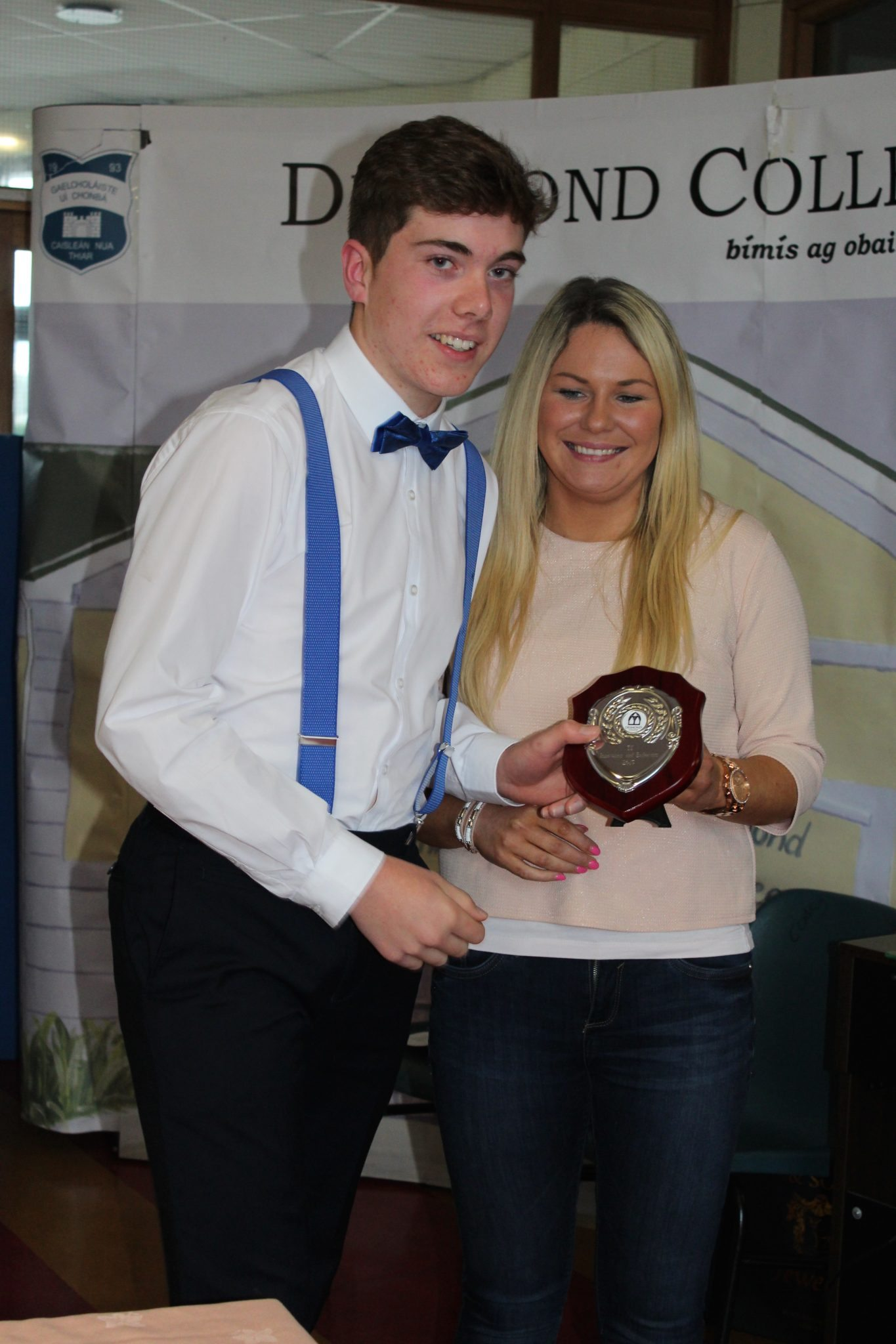 Desmond College TY Graduation 2015: Innovation and Endeavours Awards: Seamus Hurley with Ms Broderick