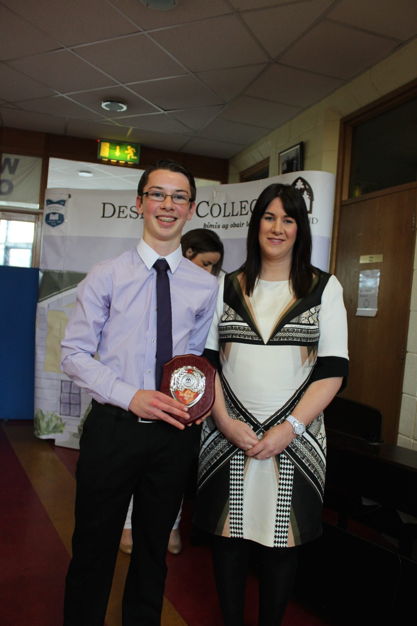 Desmond College TY Graduation 2015: Peer Mentoring Award: Cillian McMahon with Ms Guiry