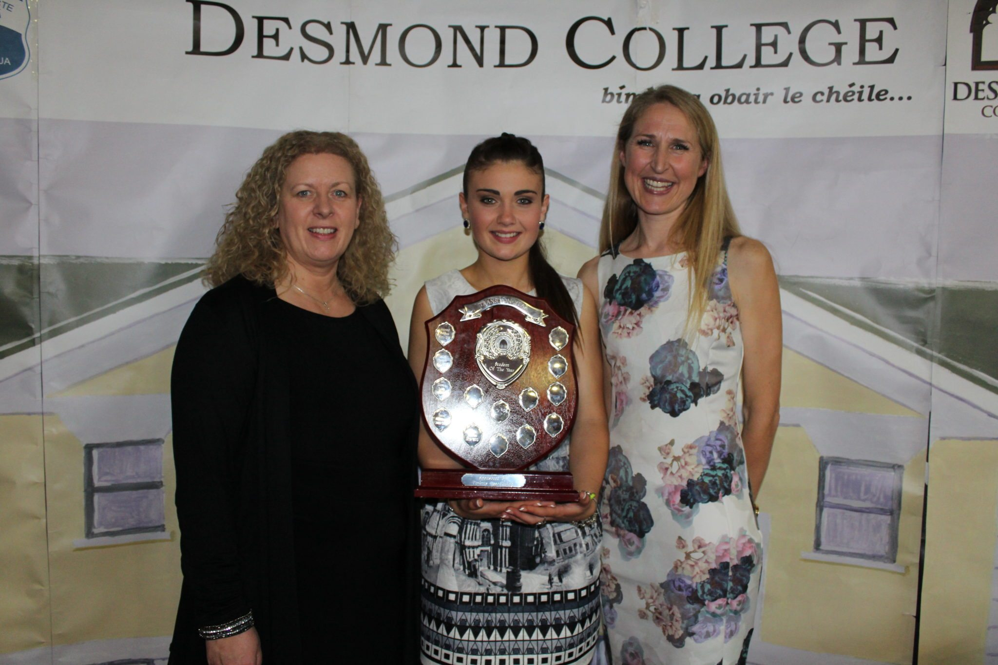 Desmond College TY Gradutation 2015: Transition Year: Student of the Year Award: Emma Herbert with Ms Gavin Barry and Ms Collins