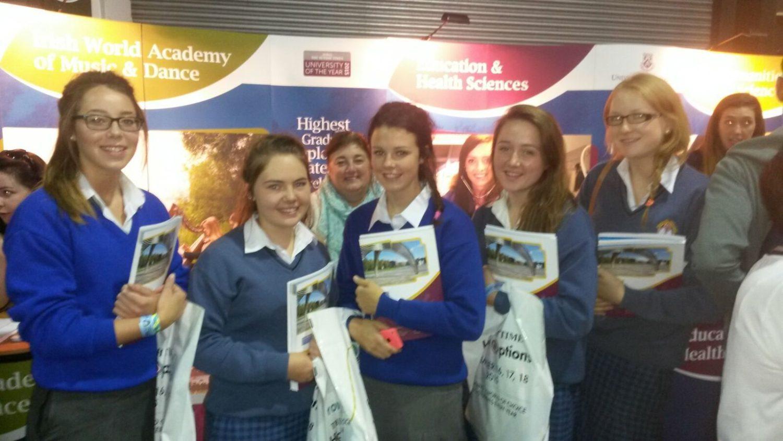 Kiara Carroll, Terri Keane, Leah Kelly, Rachel Dore and Marina Woulfe at the Careers fair in the RDS in Dublin