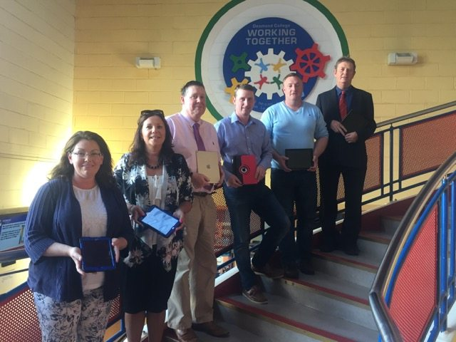 The Board of Management launch the iPad Initiative at a recent meeting: Miriam Montgomery (Parents Association), Margaret O Connor (Teacher), Donal Enright (Teacher), Damien Reidy (Chairperson), Bill Cashin (Parents Association) and Mike Cregan (LCETB)