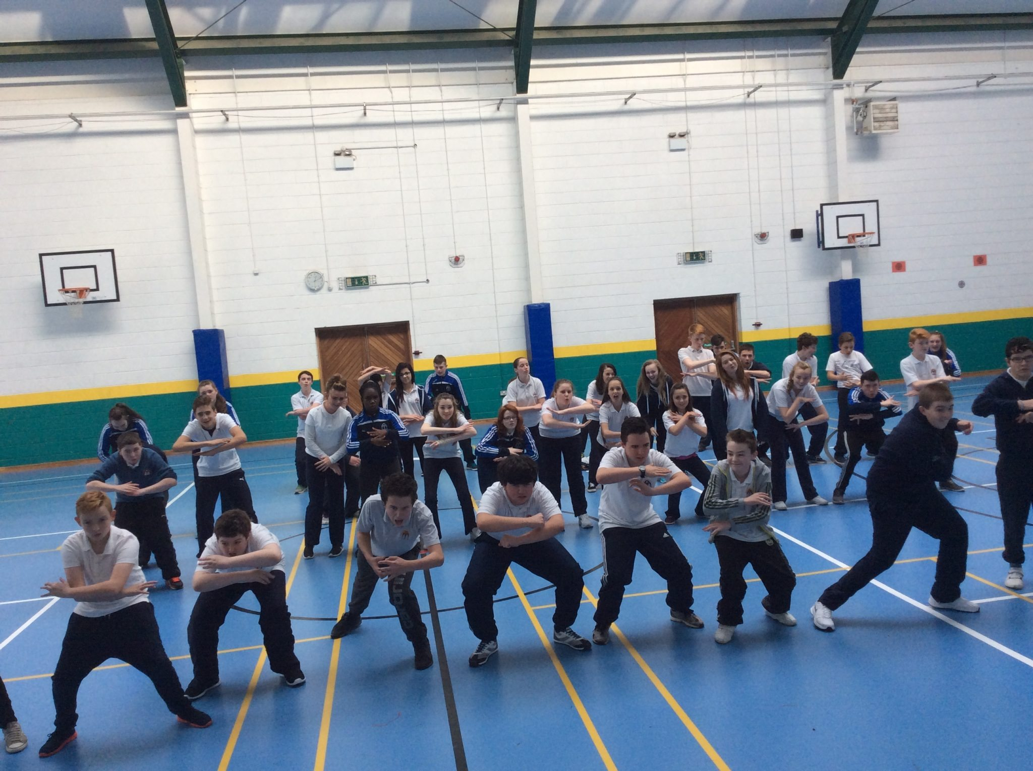October 2015: Rugby Fever in Desmond College as Students learn the Haka in PE Class