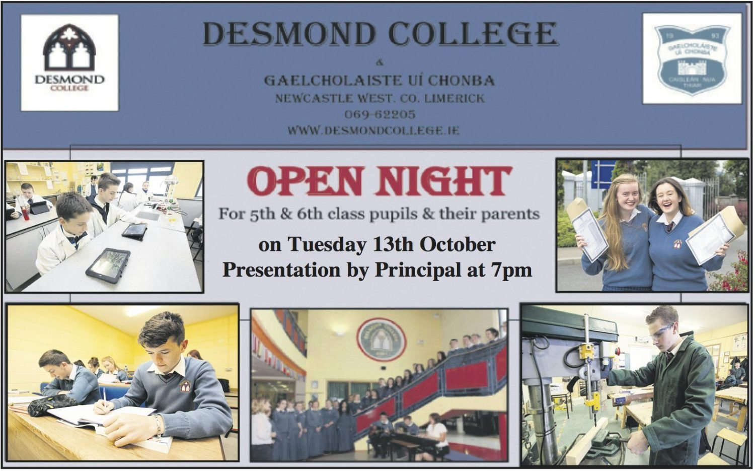 Desmond College Open Night: Tuesday 13th October : Presentation by the Principal at 7pm