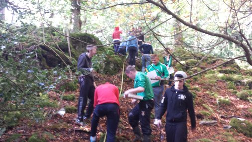 October 2015: Desmond College Leaving Certificate boys are hard at it as they identify the plants and animals present in Killarney National Park.