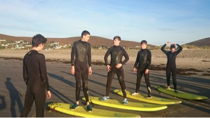 2015 October: Desmond College Students on their trip to Achill Island, learning the Fundamentals of Surfing