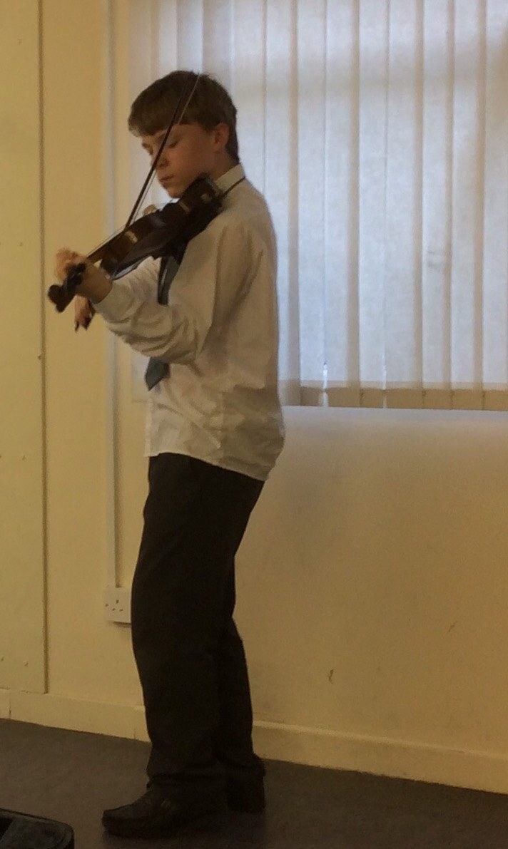 2015 November 5th: Liam McMahon playing the Violin for the Gael Choláiste creative day