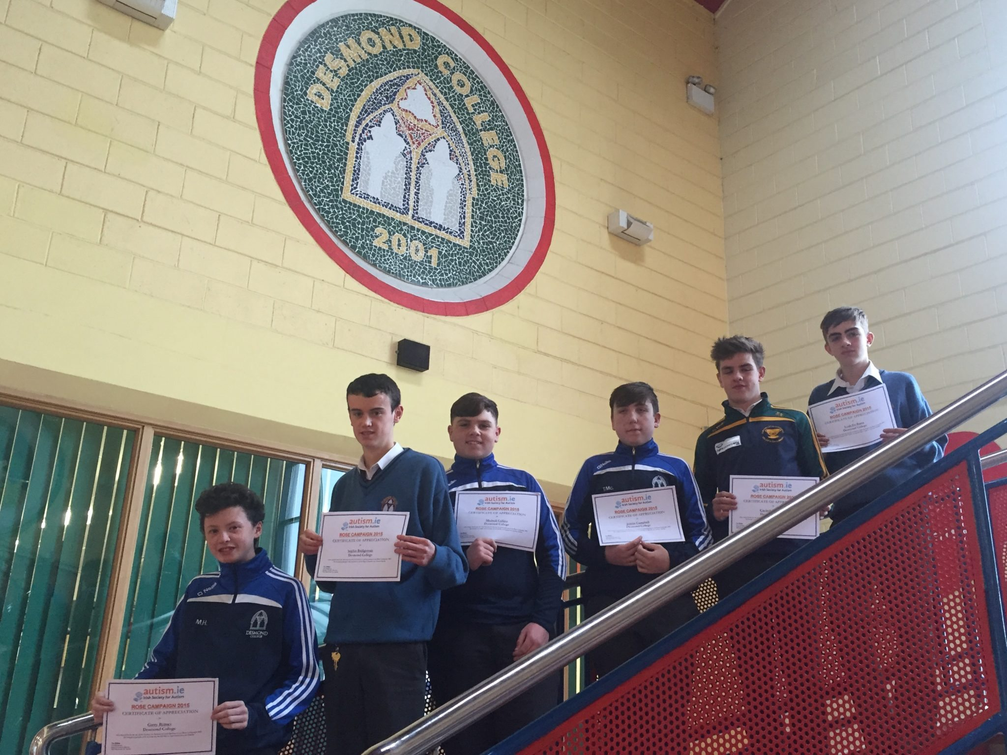 November 2015: Desmond College TY Students from NewcastleWest Co Limerick, involved in the Rose Campaign raising money for autism