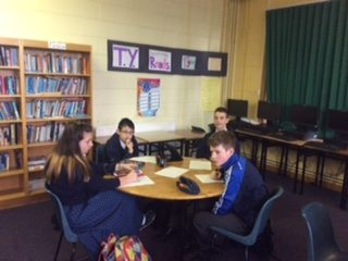 2015 December: Transition Year Students Working With First Year Students during Literacy week to promote broader vocabulary and better english skills