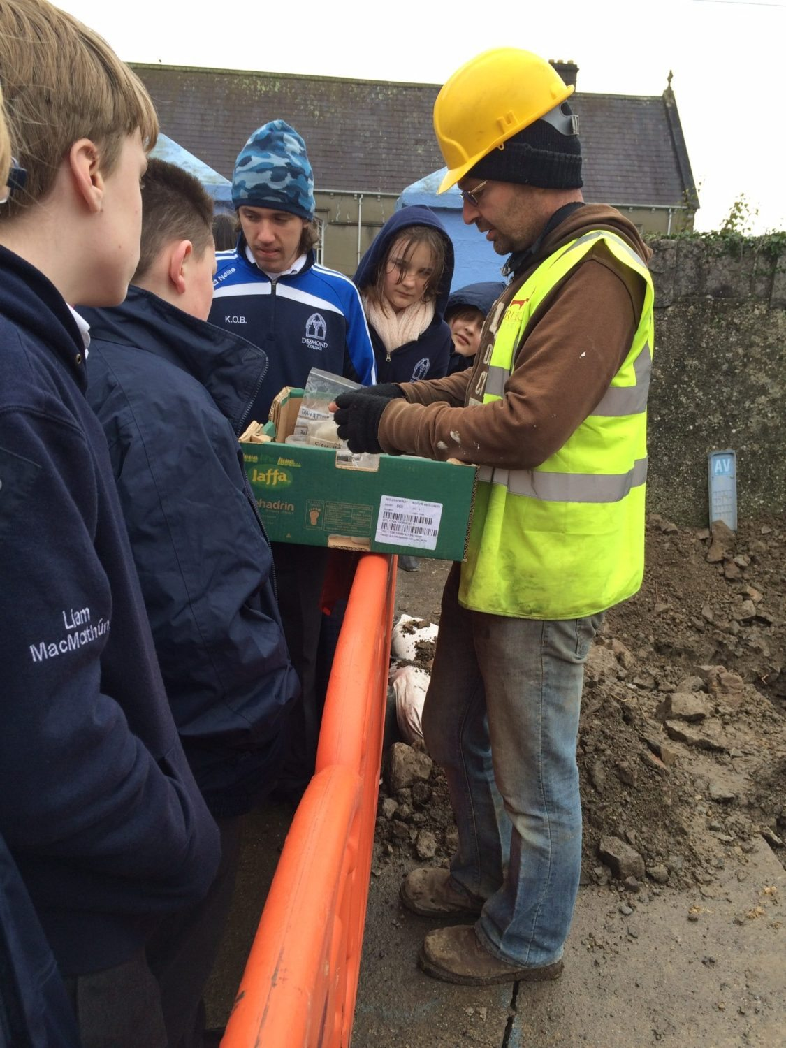 Nov 2015: First Year Students from Desmond College and the Gael Cholaiste with Archaeologist John O'Connor