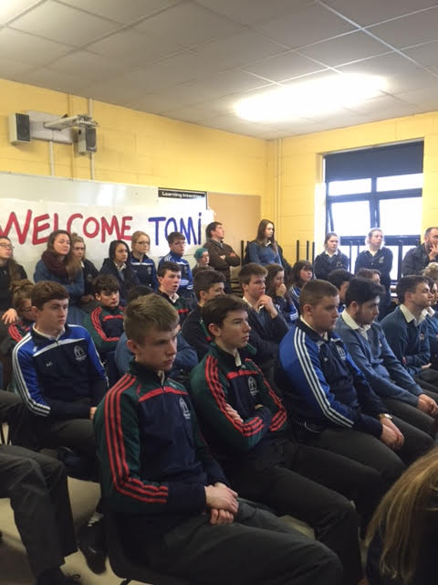 Students of Desmond College, ready to listen to Tomi Reichental's story