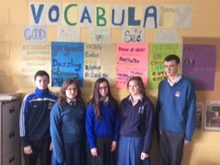 Work done in December 2015 by first year students and their transition year mentors promoting literacy through vocabulary and spelling