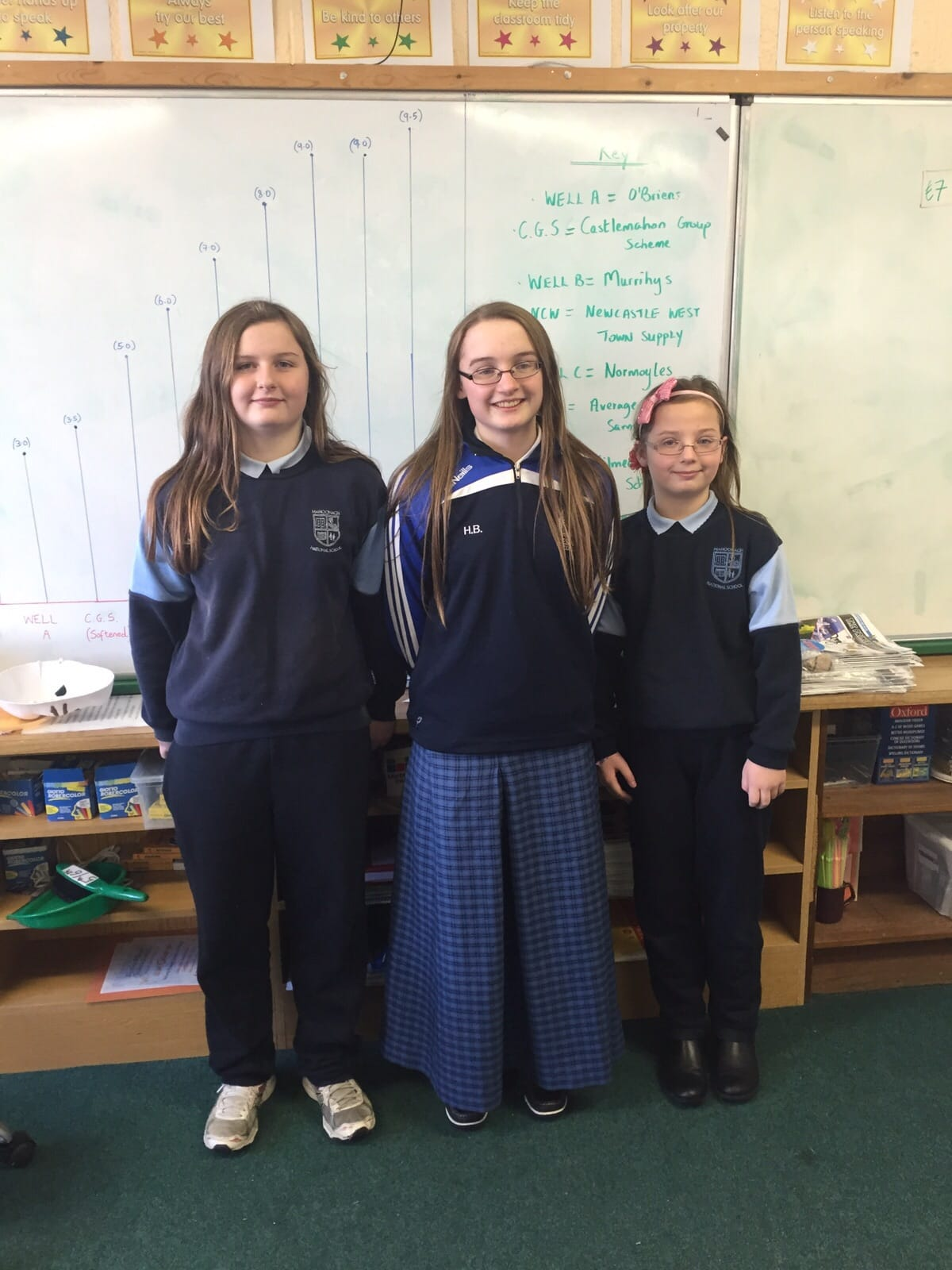 2016 Jan: Hannah Barrett Desmond College with her younger sisters on her visit to Mahoonagh National School to display her young scientist project