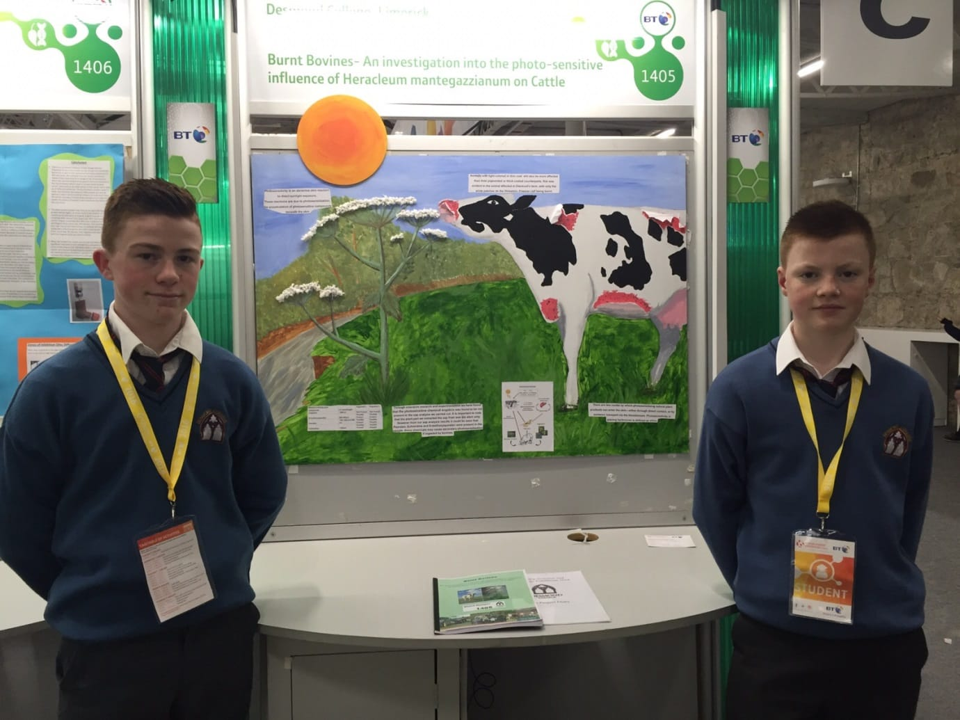 Jan 2016: Jack Corkery and Diarmuid O Flynn and their project that helps explain the effects of giant hogweed on cattle