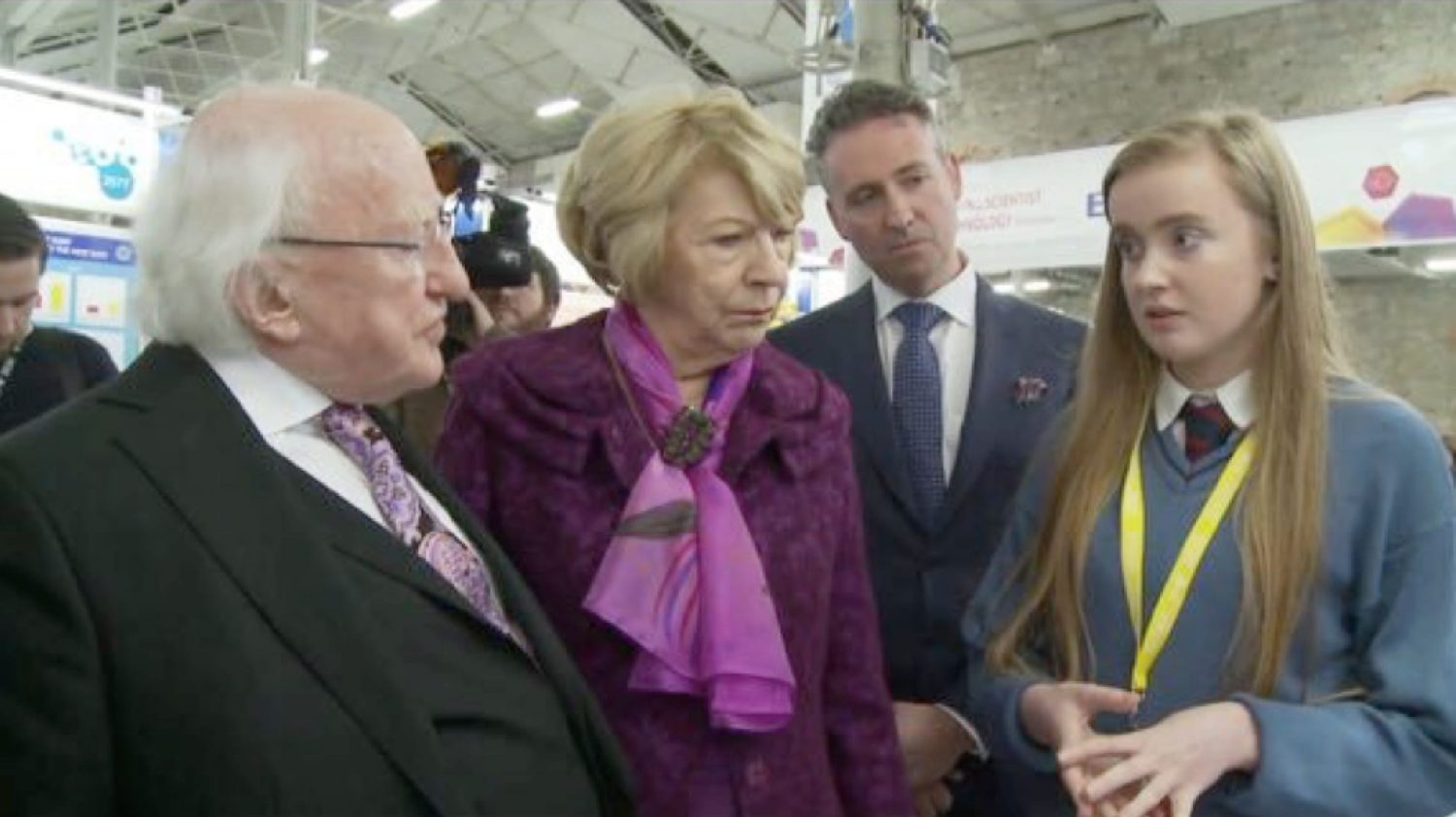 Jan 2016: Niamh Liston chatting to President Michael D Higgins and his wife Sabina about her project at the BT Young Scientist