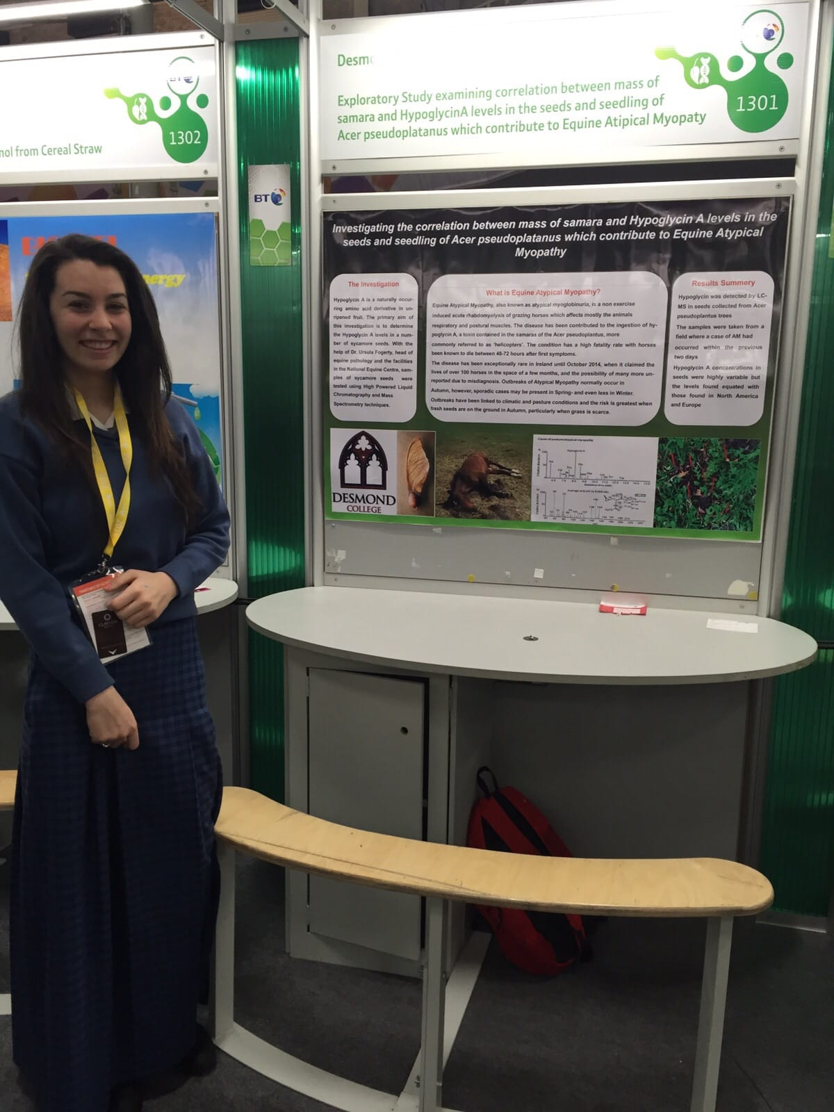 2016 January : Stacey Flynn and her project investigating the Hypoglycin A levels in sycamore seeds and their effect on Equine Atypical Myopathy