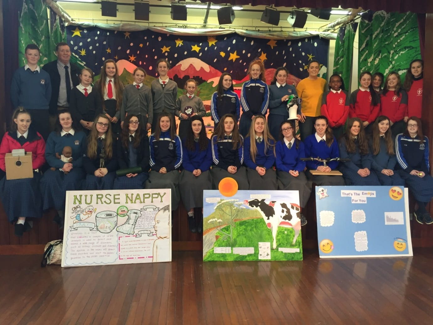 2016 Jan: Young Scientists from Desmond College and pupils from Scoil Iosaf that recently took part in the BT Young Scientist and the Primary Science fair in the RDS.