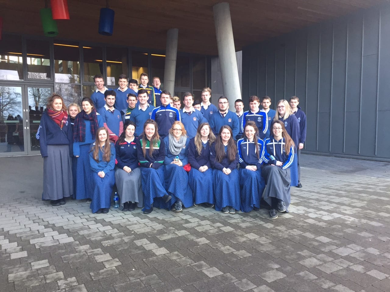 Jan 2016: Leaving Cert Students at the Lime Tree Theatre in Limerick following a performance of King Lear as part of their English Syllabus