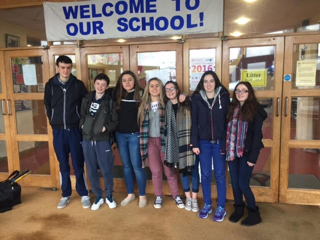 Jan 2016: Gary Byrnes, Michael Hogan, Muireann Tobin, Leah Barry, Aine Upton, Amy Ryan and Sophie Bridgeman Transition Year students from Desmond College heading off on Anois Leadership training.