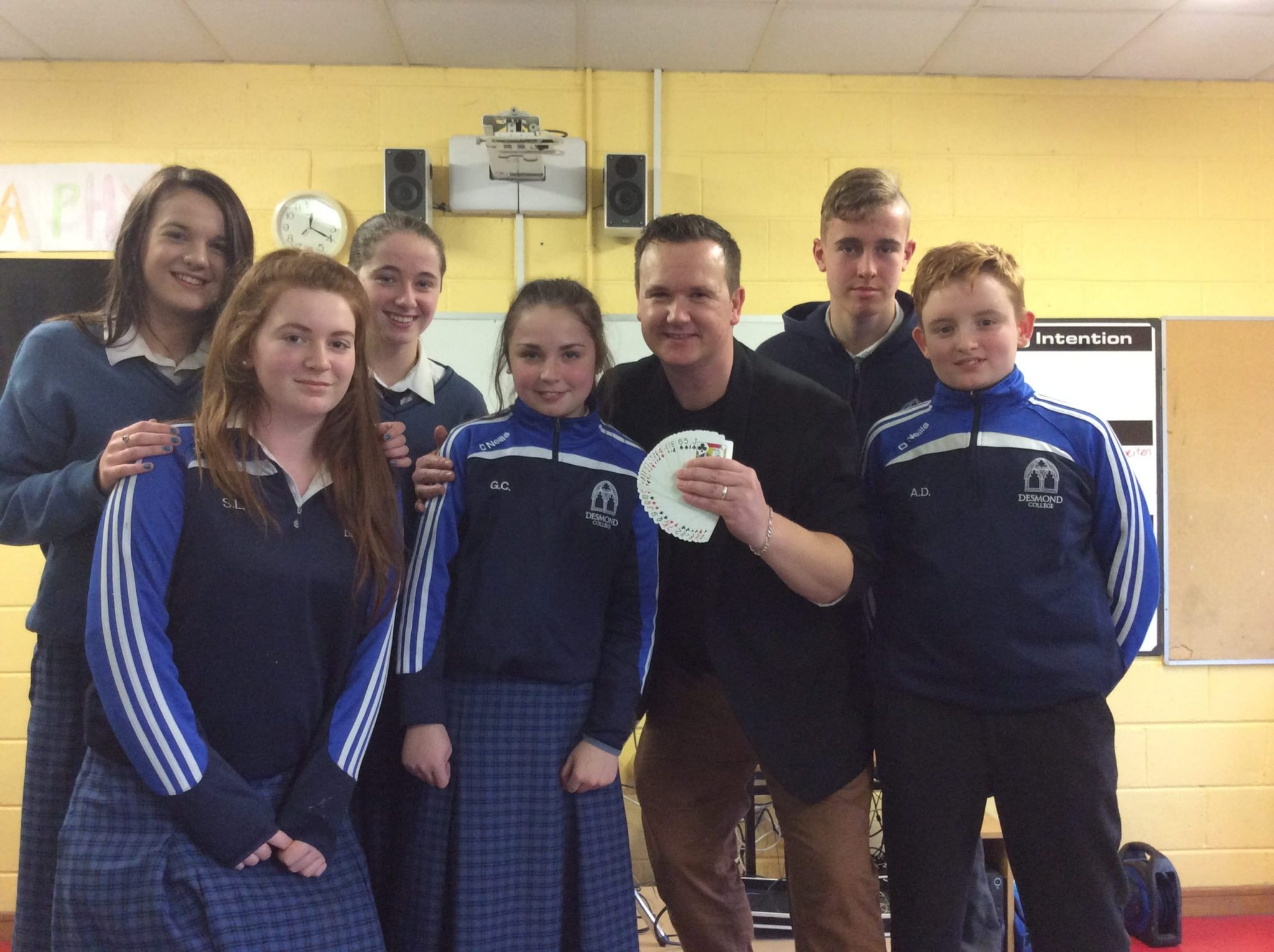 Jan 2016: First and Second Year students from Desmond College pictured with Magician Leon as part of Numeracy Week