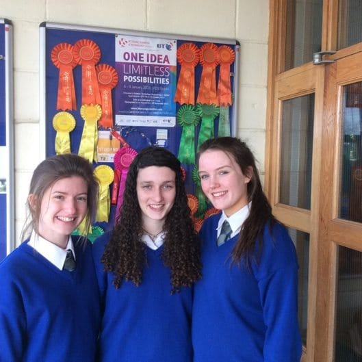2016 Feb: Three Gaelcholaiste Ui Chonba students, Siun Ni Cheallaigh, Roisin Nolan & Alanna Slater who have been selected for this year's 2016 BT Business Boom Camp.