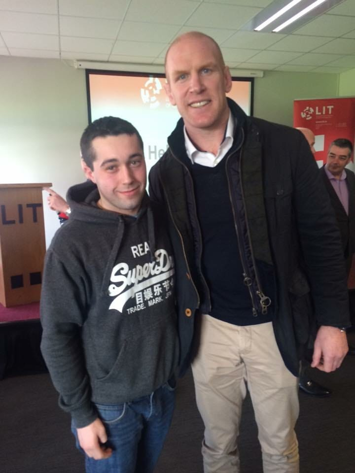 2016 Feb: Leaders at LIT student scholarship programme. Desmond College past pupil with rugby legend Paul O'Connell