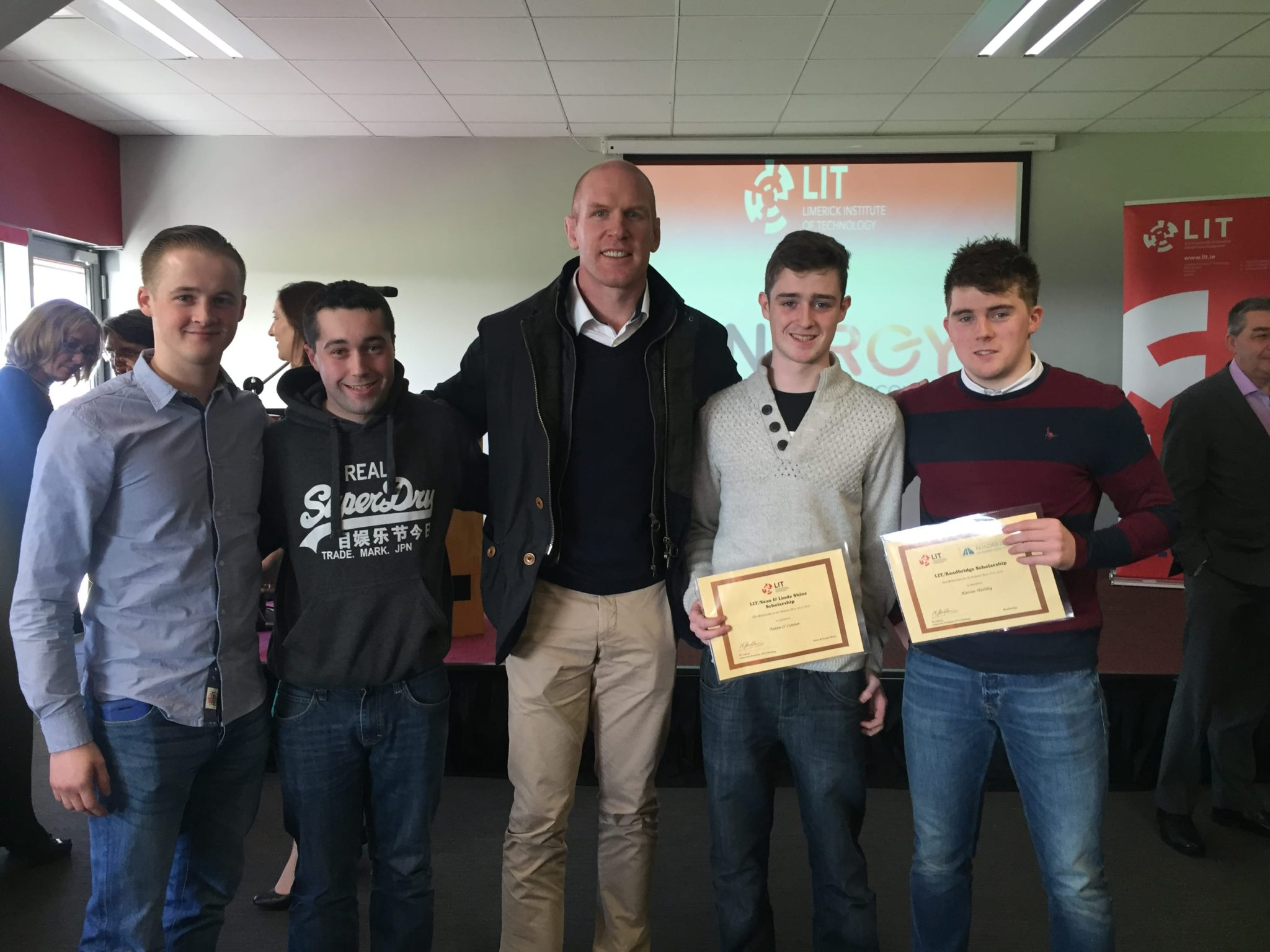 2016 Feb: Leaders at LIT student scholarship programme with Rugbby Legend Paul O'Connell