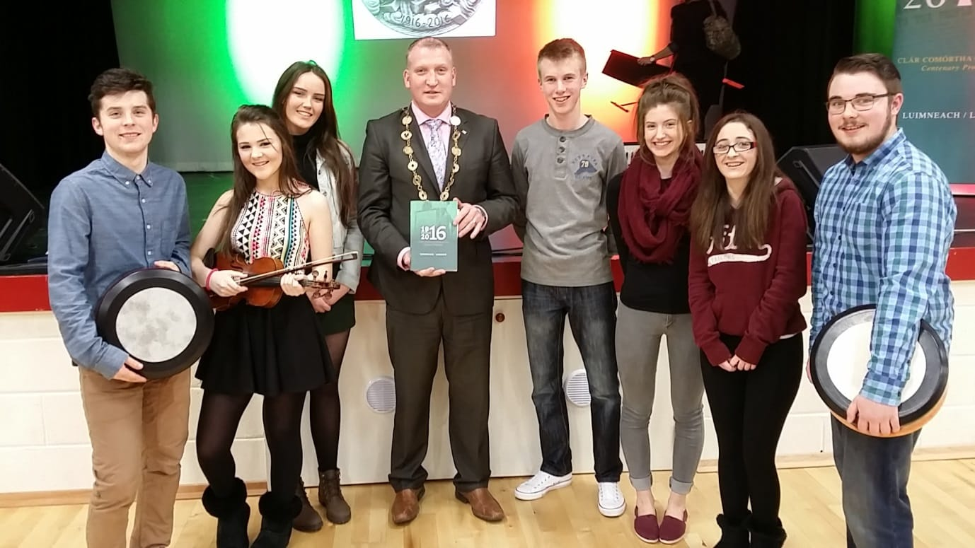 Feb 2016: Desmond College and Gaelcolaiste Ui Chonba students pictured with the Lord Mayor of Limerick after they performed at the 1916 commemoration in Castlemahon.