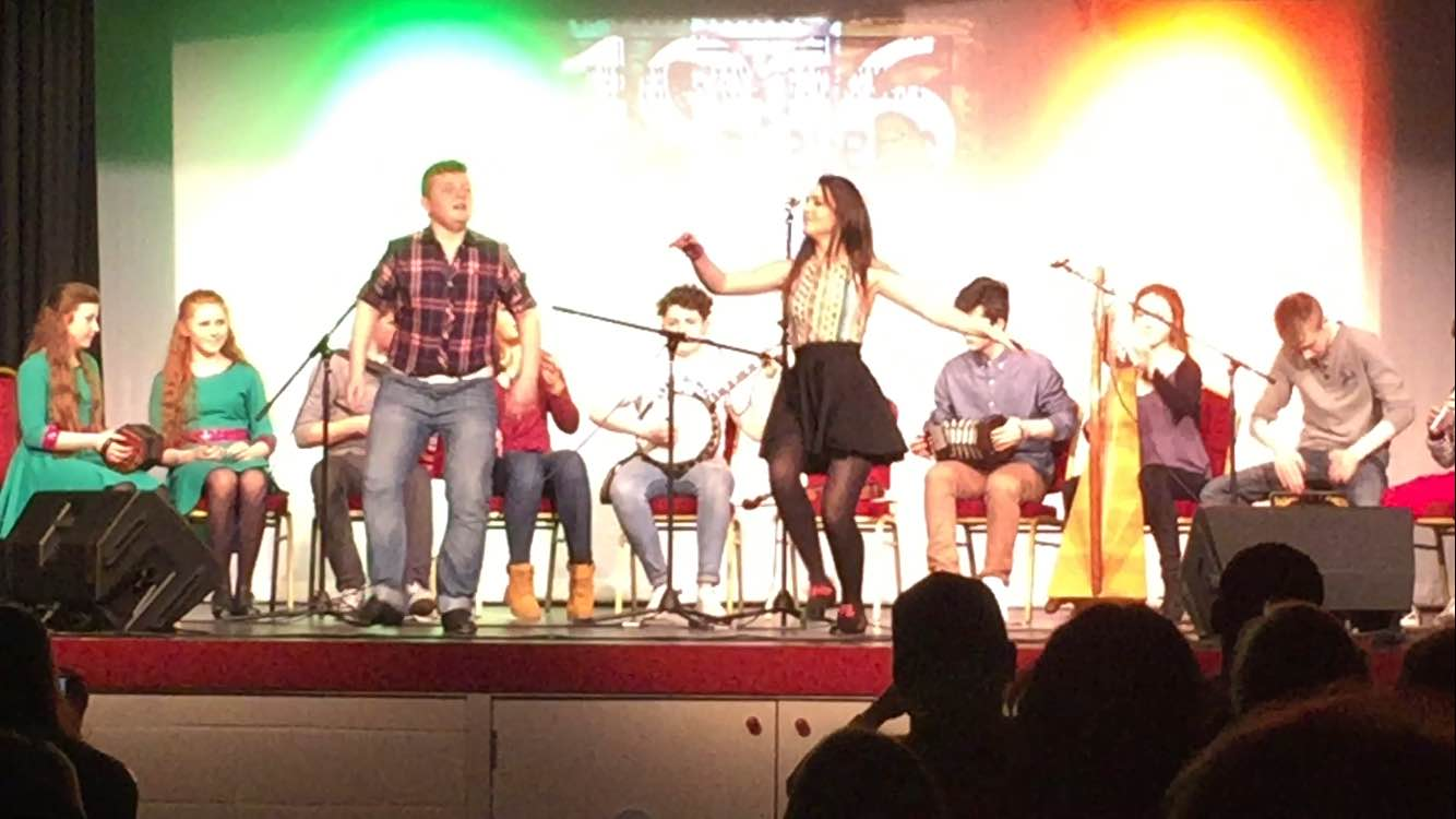 Feb 2016: Desmond College students Brian Mortell, Laoise Curtin and Trad Group An Draiocht performing at the Castlemahon 1916 commemoration concert