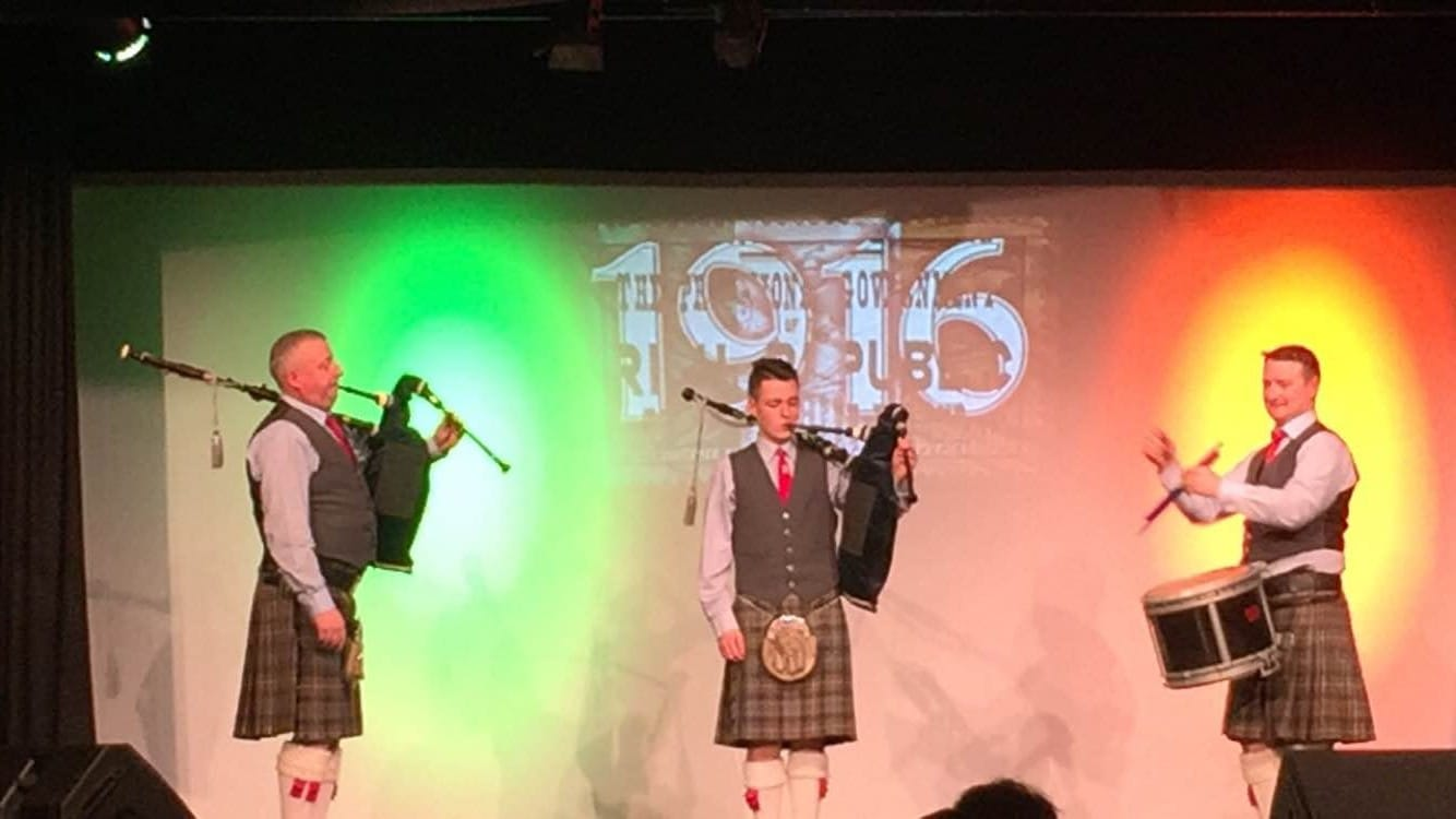 Feb 2016: Johnny Hunt Desmond College pictured centre with members of the Hunt Family performing at the 1916 celebrations in Castlemahon Community Centre