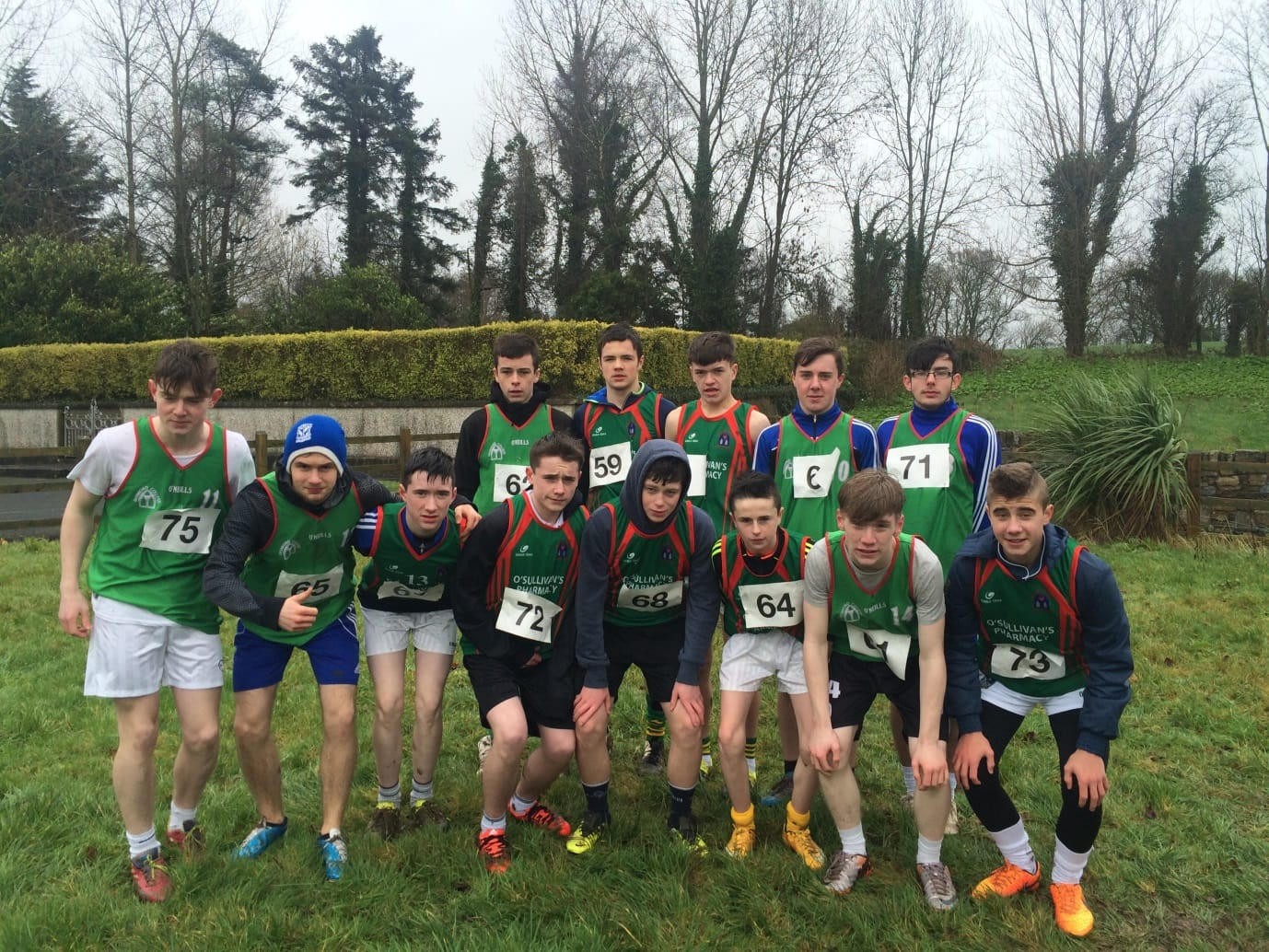 Desmond College Boys U17 Cross Country Team keeping warm ahead of their race at the North Munster Championships