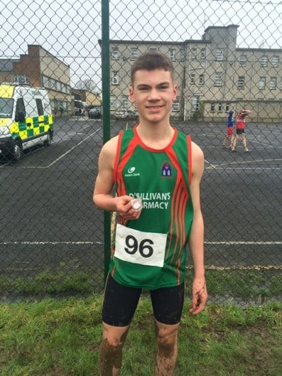 Feb 2016: Nathan Wright, Desmond College, Bronze medal winner at the North Munster Cross Country Championships.
