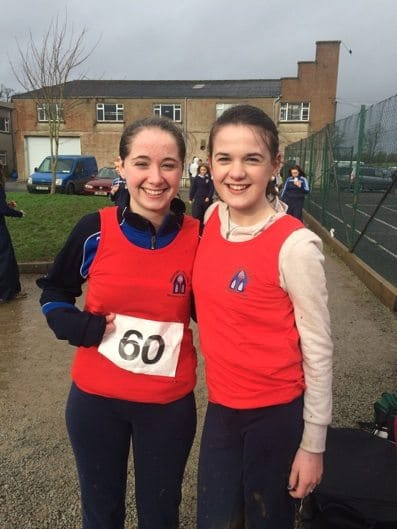 Feb 2016: Catherine Cahill and Clodagh McNamee pictured at the North Munster Cross Country Championships in Pallaskenry recently.