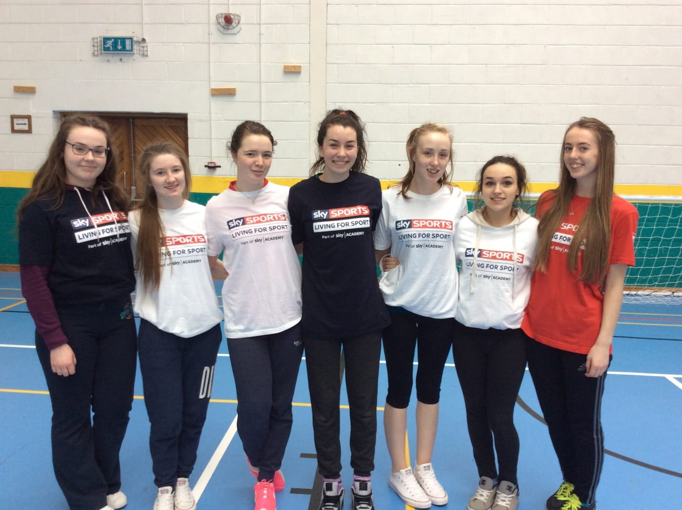 Feb 2016: Chloe Collins, Sara Flately, Ciara Noonan, Stacey Flynn, Shauna Hallinan, Kara White and Orla Wrenn pictured during leadership training as part of SKY SPORTS living for sports programme
