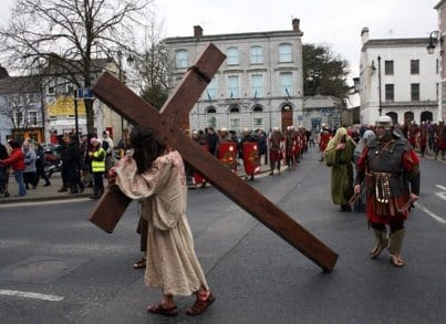 Jesus carrying the cross through the streets on Newcastle West in 2015