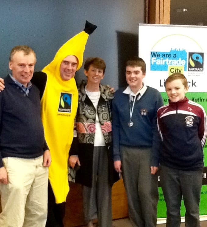 2nd March 2016: Desmond college Allan Wallace with his family receiving his prize for winning overall first prize at the Launch of FairTrade Fornight in Limerick County Council Chamber