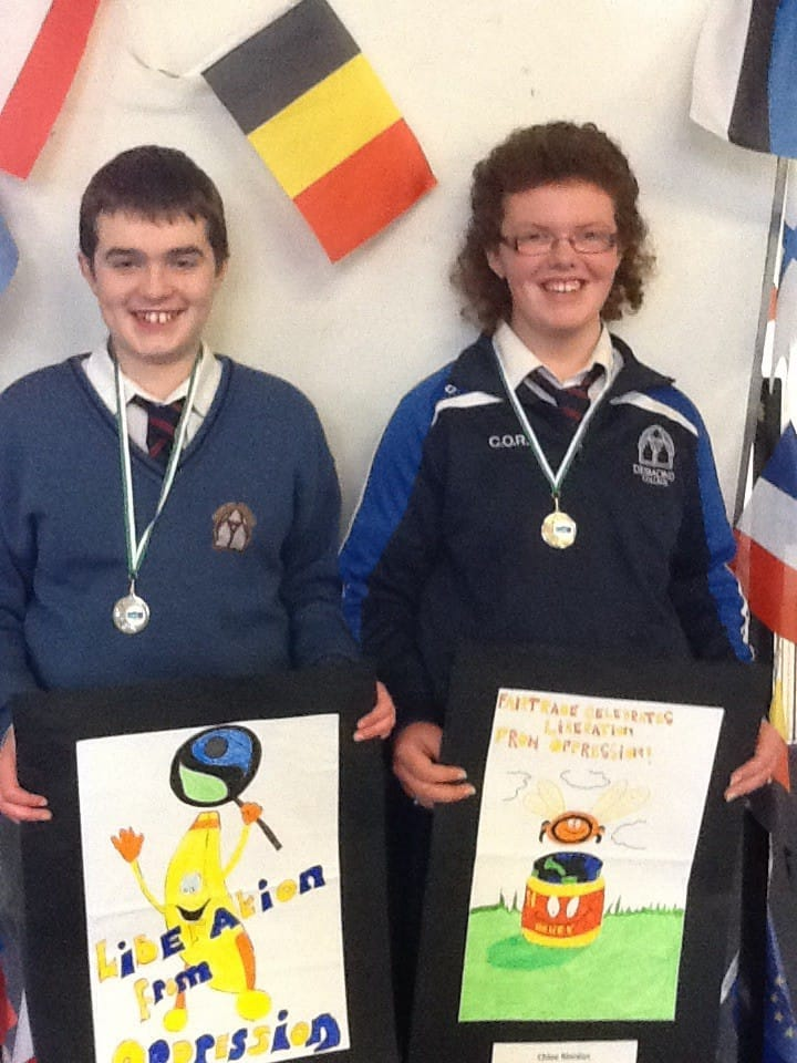 2nd March 2016: Desmond College Students Allan Wallace and Chloe O'Riordan, 2nd year students, who won in the Limerick Fair Trade Poster Competition