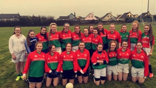 March 2016: Desmond College U16 Ladies Football team picture before their first league game against Croom