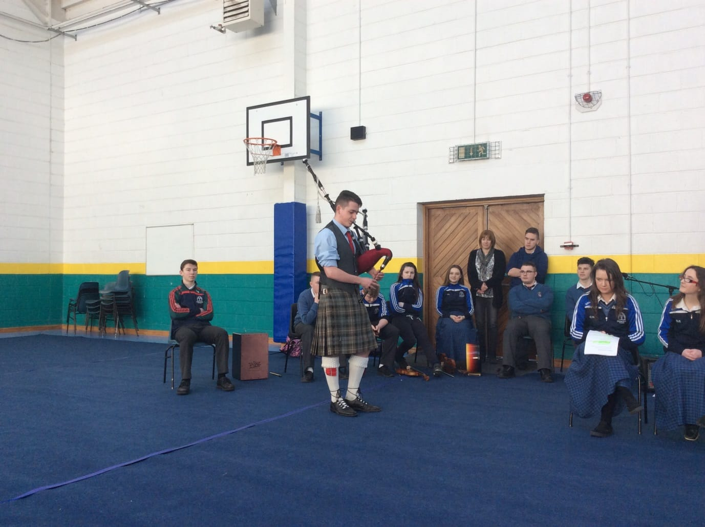 March 2016: Johnny Hunt treated us to some fantastic bagpipe playing during the 1916 commemoration in Desmond College