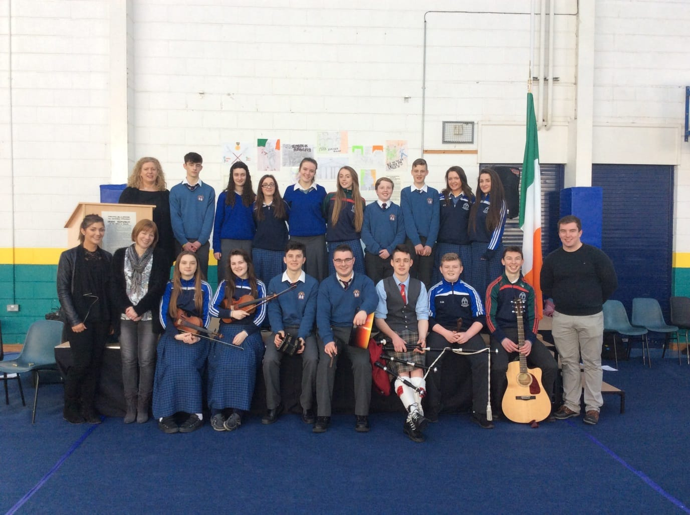 March 2016: Students and staff that performed at the 1916 commemoration ceremony in Desmond College pictured with school principal Ms. Gavin-Barry